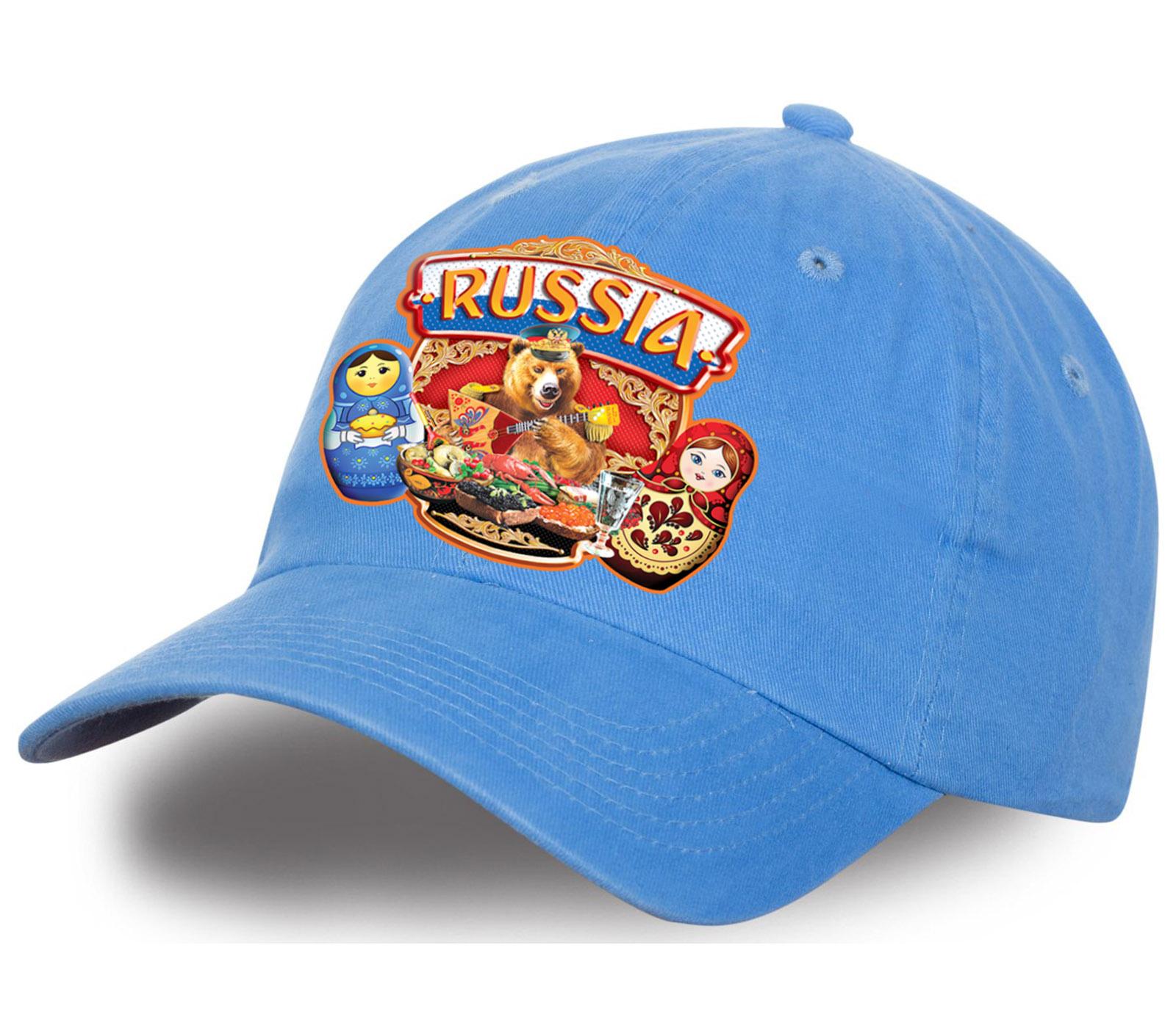 """Яркая бейсболка """"Russia"""" в авторском дизайне. Популярная модель высшего качества. Стильный и практичный головной убор, выбирайте для себя или в подарок!"""