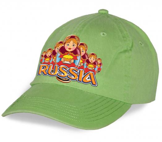 """Яркая кепка """"Russia"""" с матрешками. Оригинальная модель отличного качества - мечта патриота и болельщика. Заказывай для себя или в подарок!"""