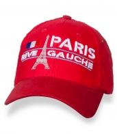 Яркая красная кепка с принтом PARIS RIVE GAUCHE