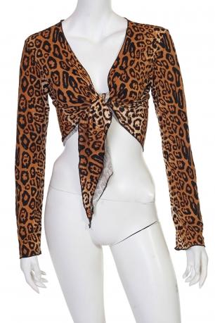 Яркая леопардовая кофта на завязках