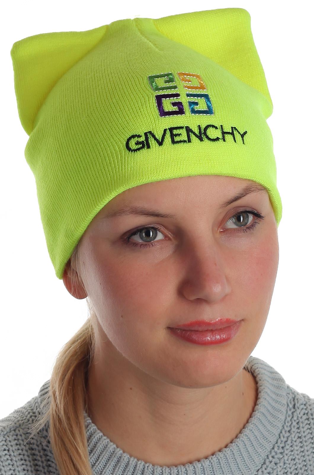 Яркая шапка с ушками Givenchy безукоризненное качество стильным красоткам