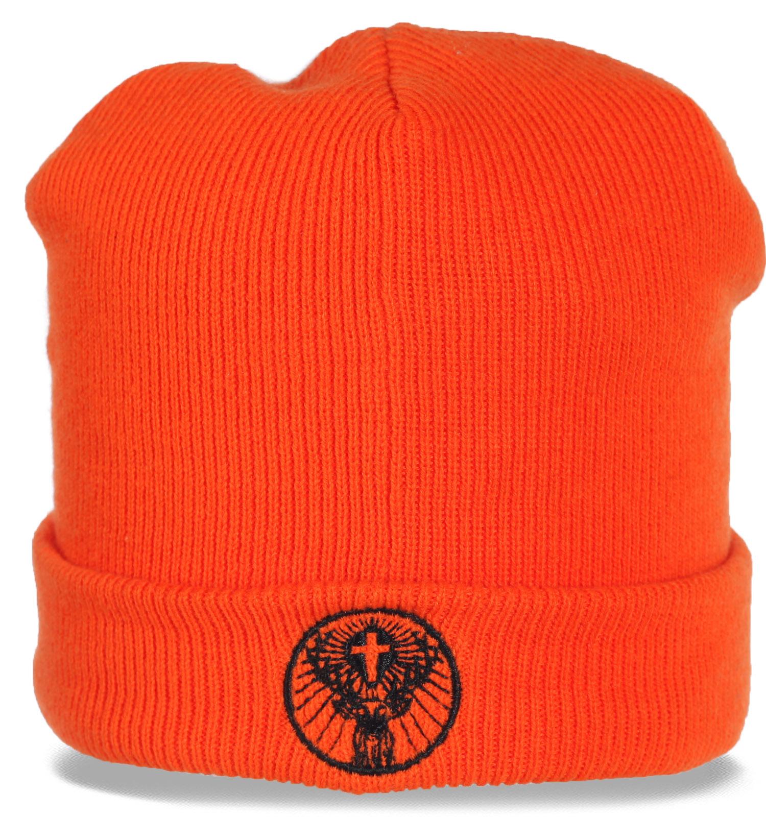 Яркая стильная трикотажная шапка с отворотом. Универсальный аксессуар. Девчонкам для городской тусовки. Парням для охоты на оленя