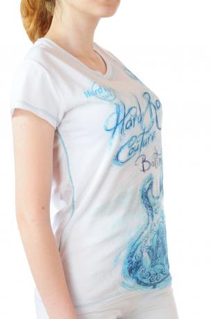 Белая женская футболка Hard Rock® Baltimore - вид сбоку