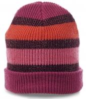 Яркая женская шапка в спортивном стиле. Теплая модель модного дизайна