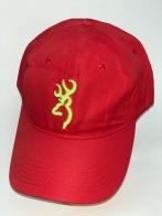 Ярко-красная бейсболка Browning с салатовой вышивкой