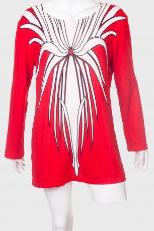 Ярко-красное короткое платье-туника от Azzurra