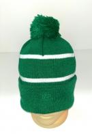 Ярко-зеленая шапка с помпоном и белыми полосками