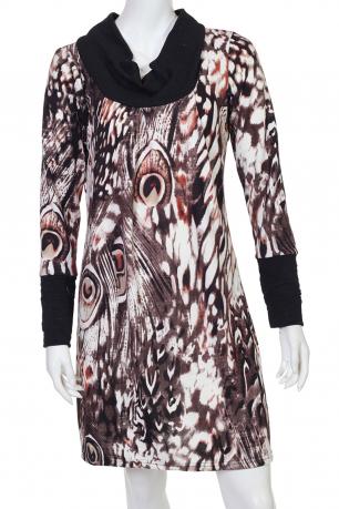 Яркое платье с перьями павлина
