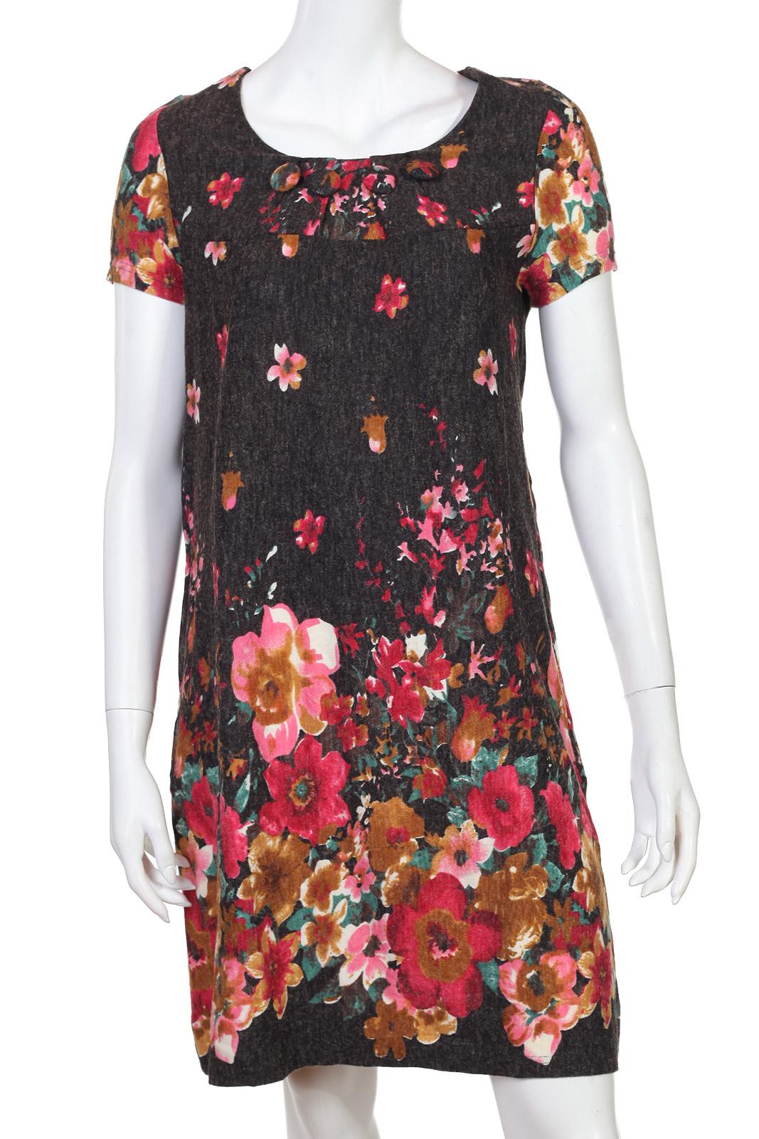 Яркое цветочное брендовое миди-платье