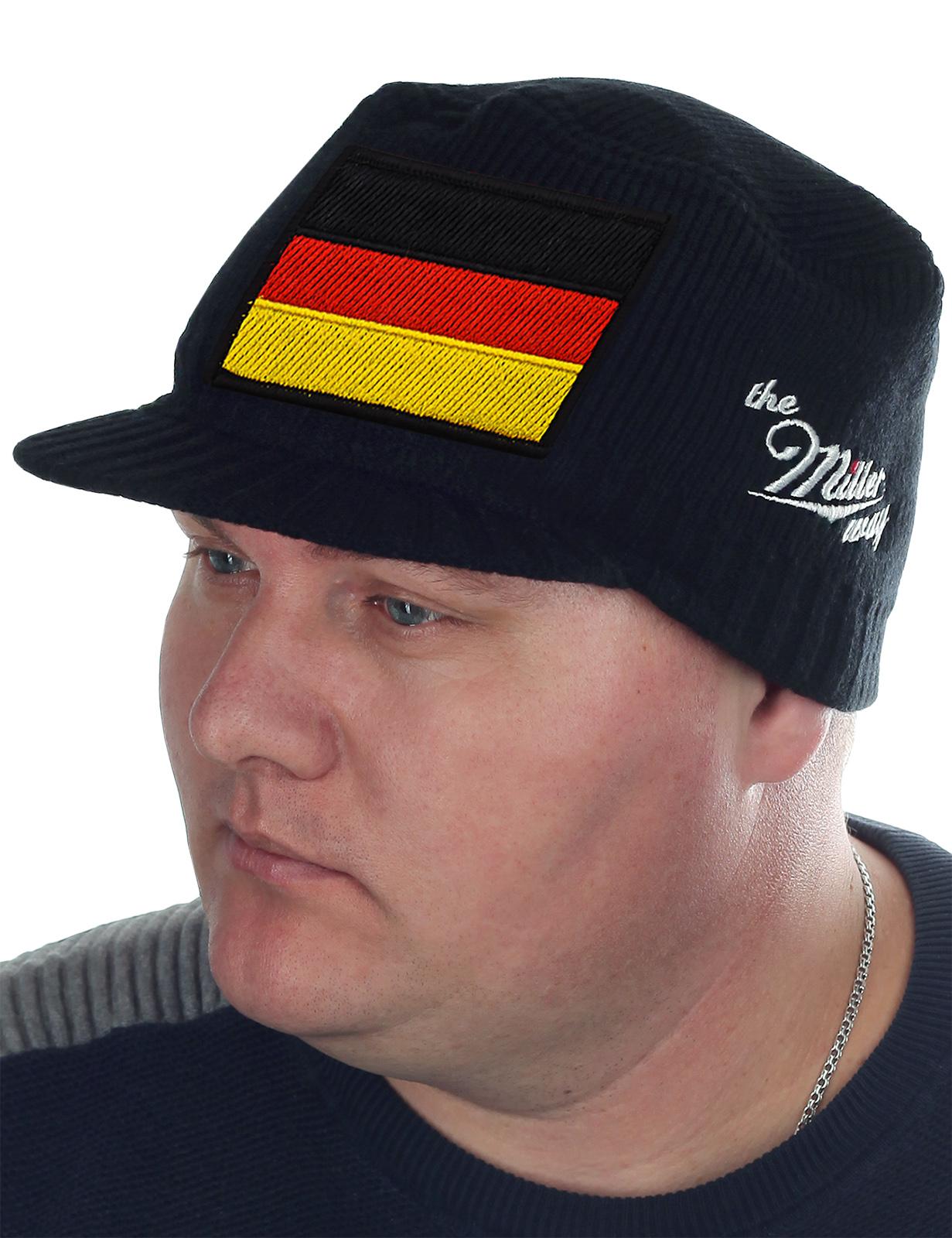 Мужская классика! Утепленная кепка Miller Way с триколором Германии. Брендовое качество, беспроигрышный цвет. С нами слова «недорого» и «модно» станут синонимами