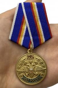 Юбилейная медаль 215 лет МВД России - вид на ладони