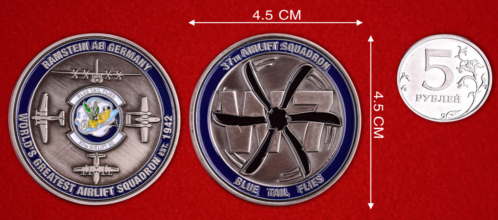 "Юбилейный знак ВВС США ""База Рамштайн. 37-я эскадрилья"""