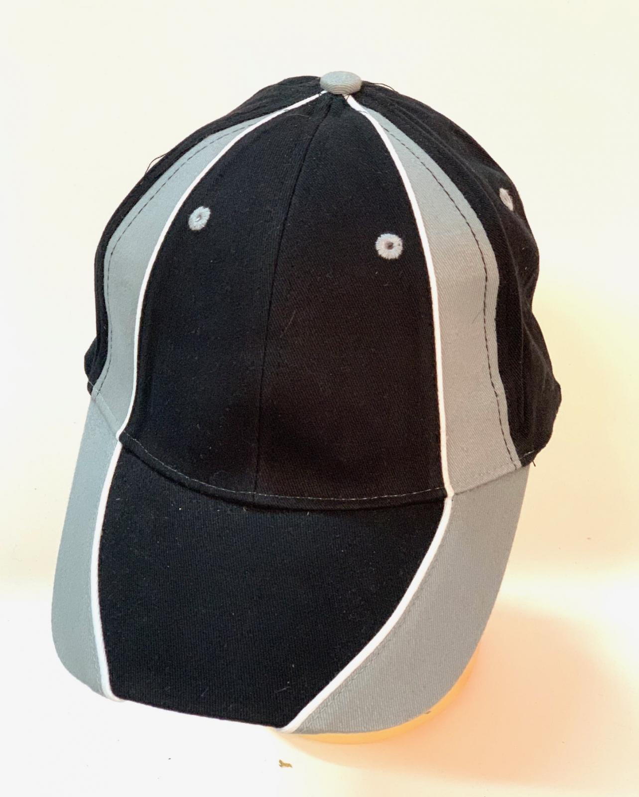 Зачетная бейсболка черного цвета с серыми вставками