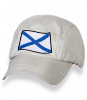 Зачетная белая бейсболка с нашивкой Андреевский флаг