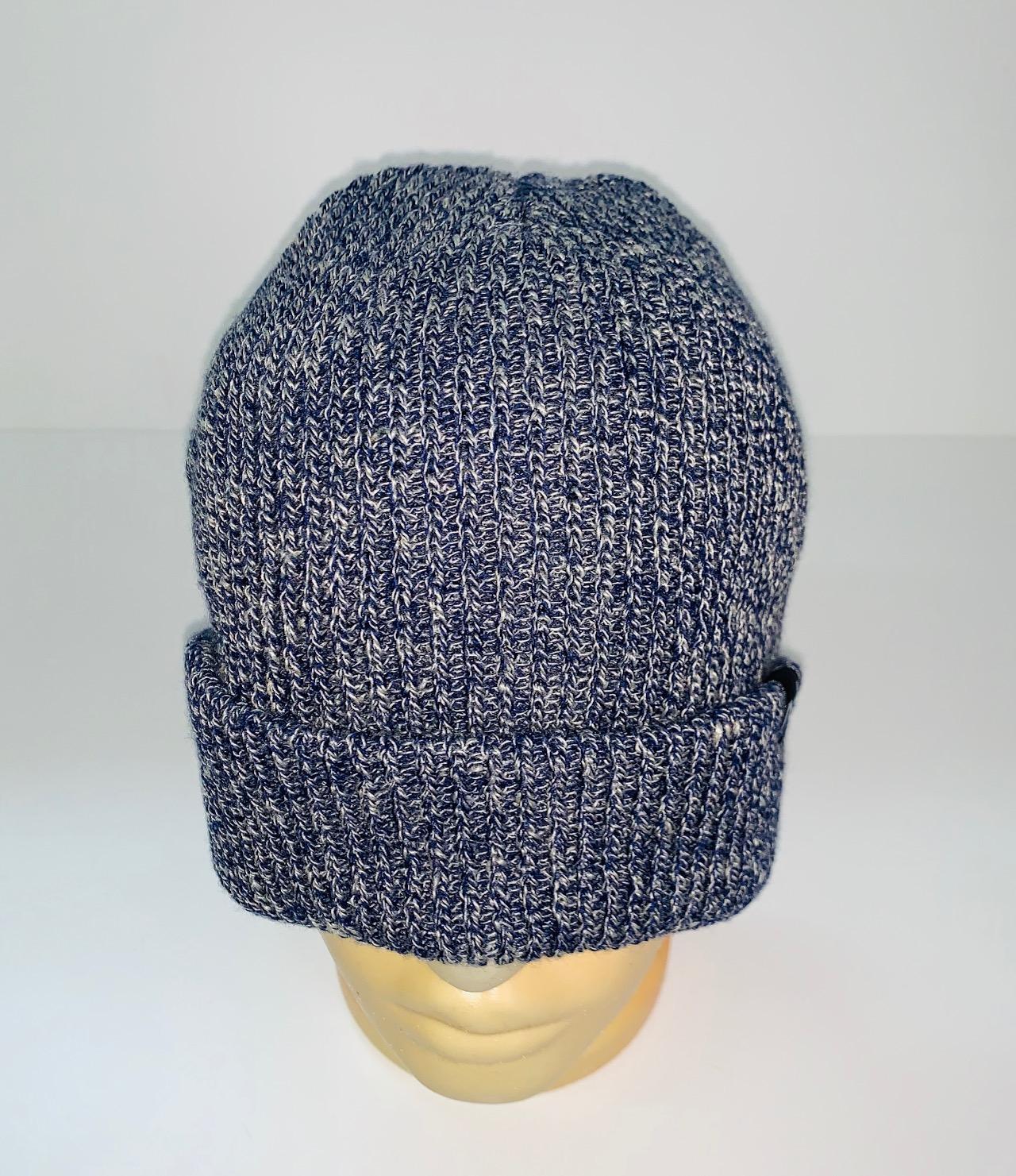 Зачетная шапка синий меланж