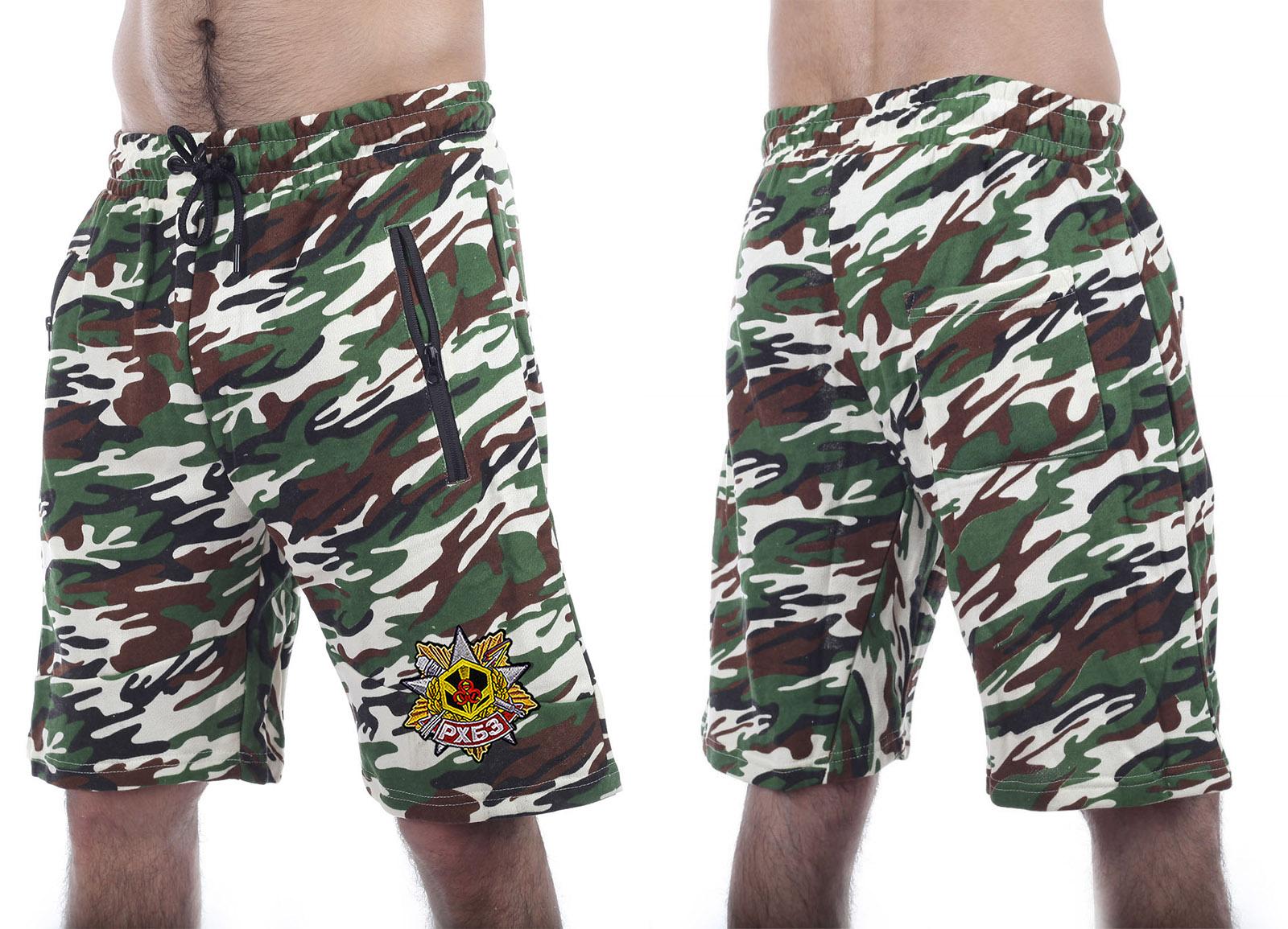 Зачетные камуфляжные шорты с карманами  нашивкой РХБЗ - заказать по низкой цене