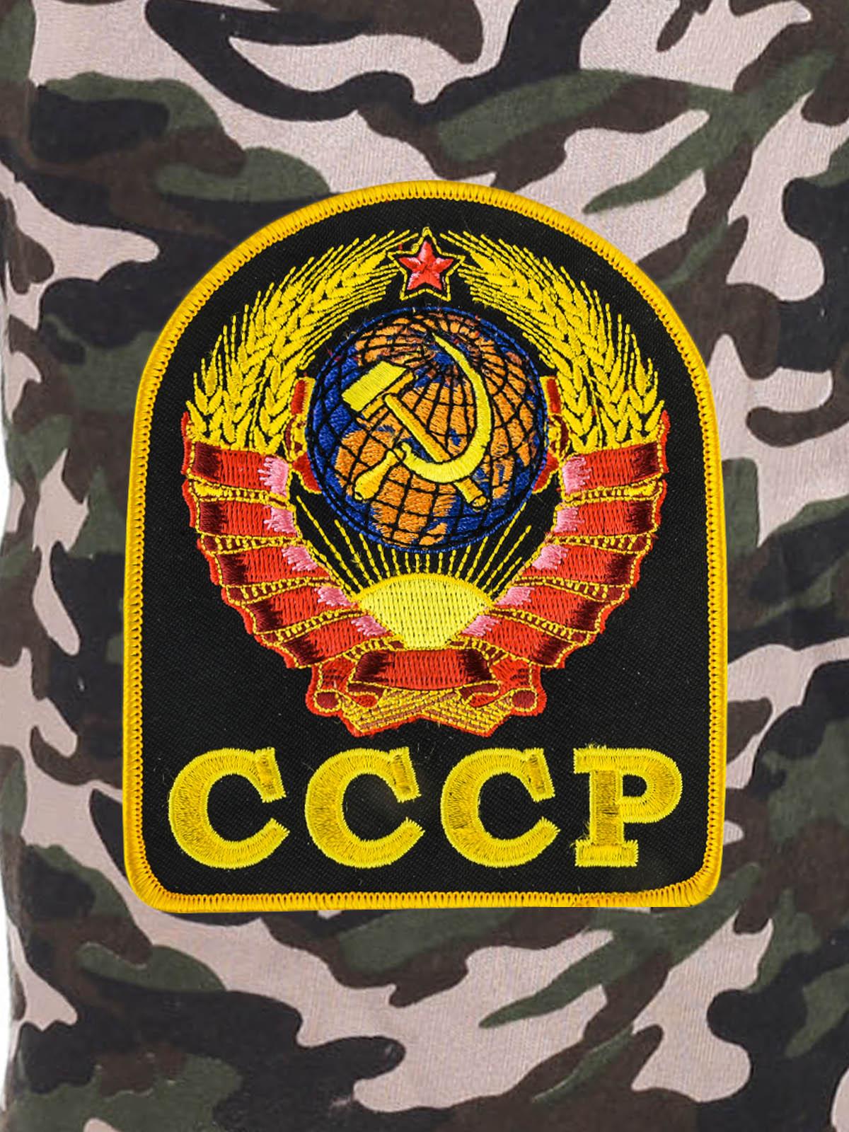 Зачетные контрастные шорты свободного фасона с нашивкой СССР