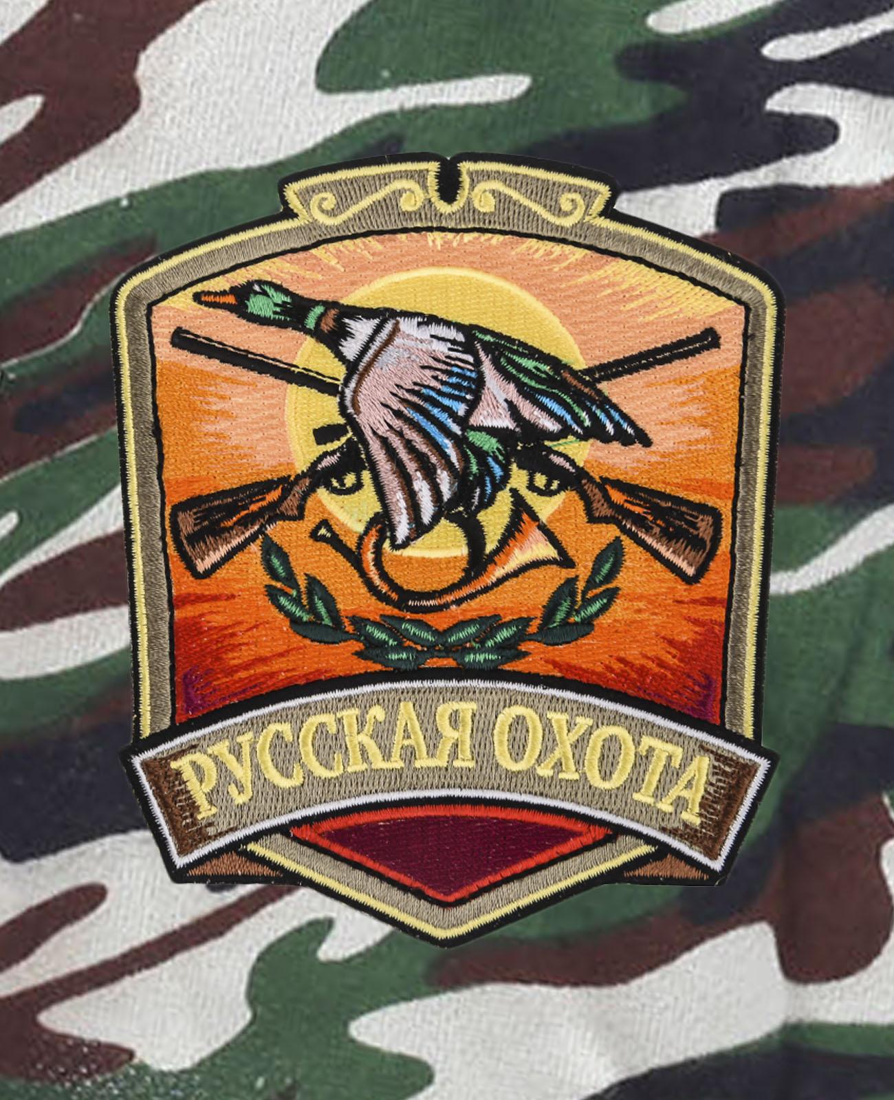 Зачетные шорты удлиненного кроя с нашивкой Русская Охота
