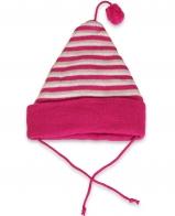 Полосатая трикотажная женская шапка с бубоном