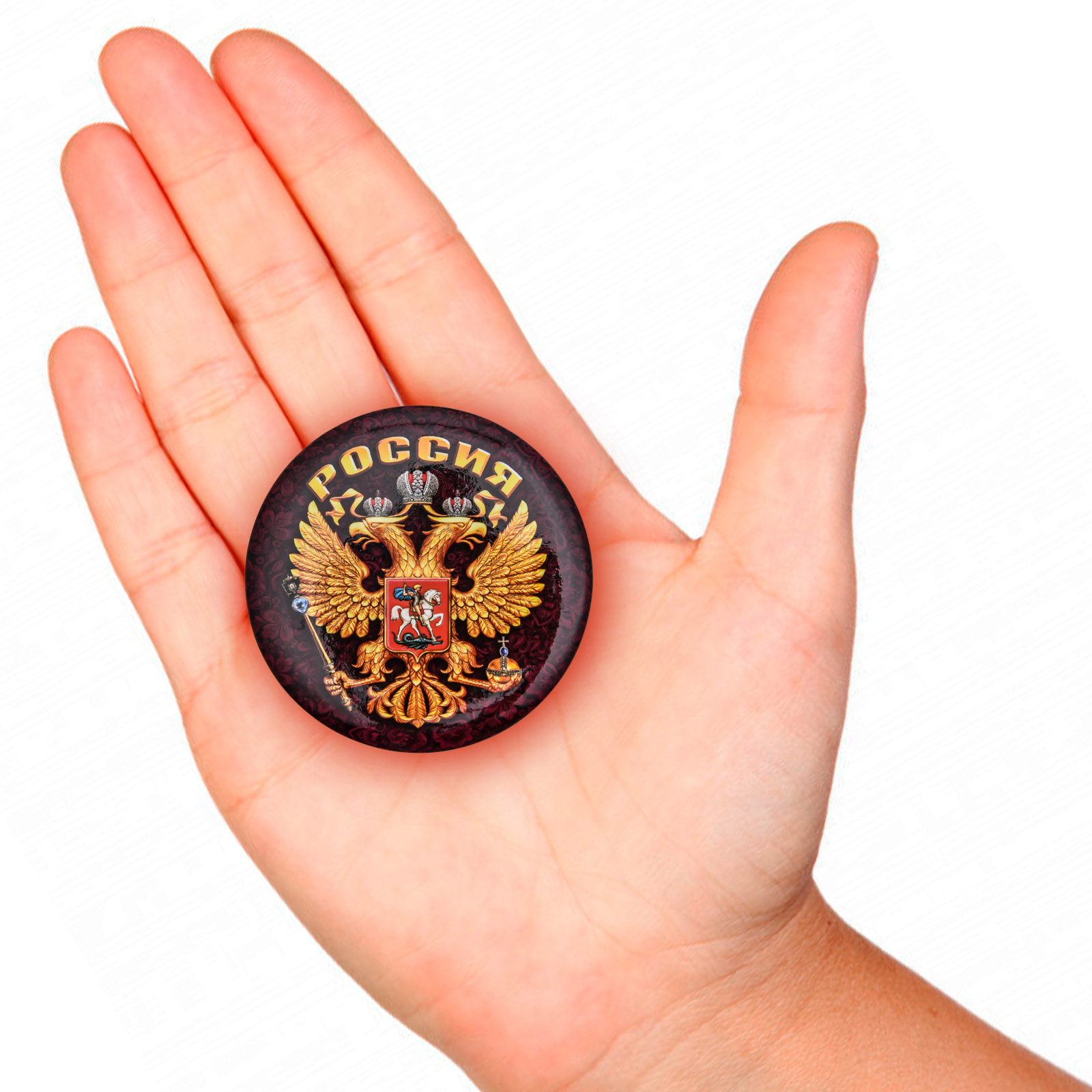 Закатный значок Герб России