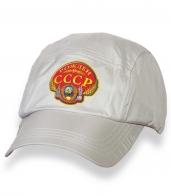 Замечательная белая кепка-пятипанелька с термотрансфером Рожден в СССР