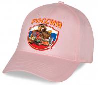 Замечательная розовая хлопковая кепка с патриотическим авторским принтом Россия «Мишка с балалайкой» единственная в своем роде – такую Вы нигде не найдете