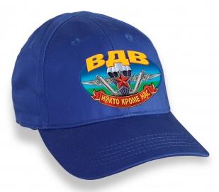 Защитная синяя бейсболка с термонаклейкой ВДВ