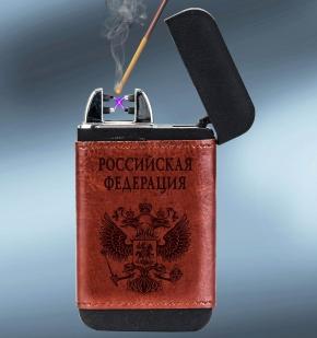 Подарочная зажигалка Power Bank в кожаном чехле Российская Федерация