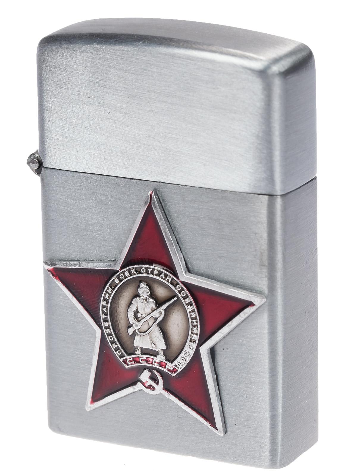 "Зажигалка Zippo с накладкой ""Красная звезда"" по низкой цене"