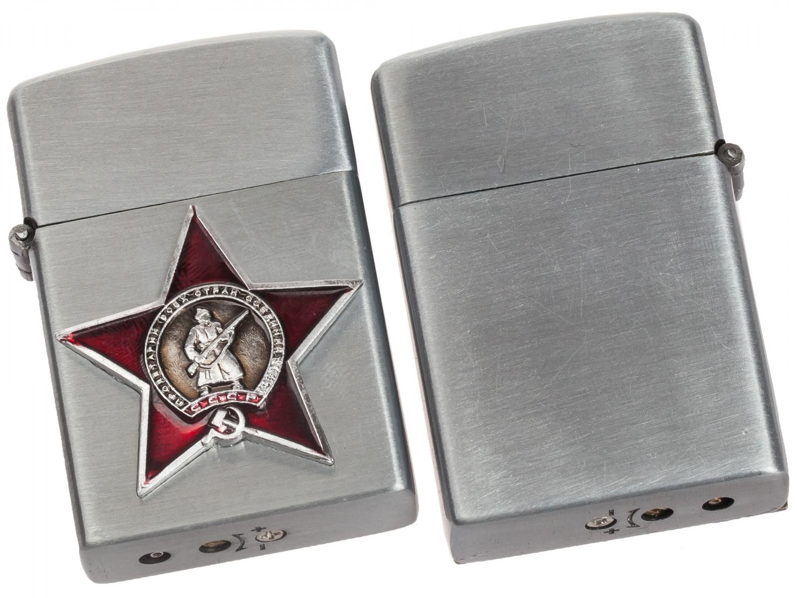 """Зажигалка с накладкой """"Красная звезда"""" газовая Zippo с доставкой"""