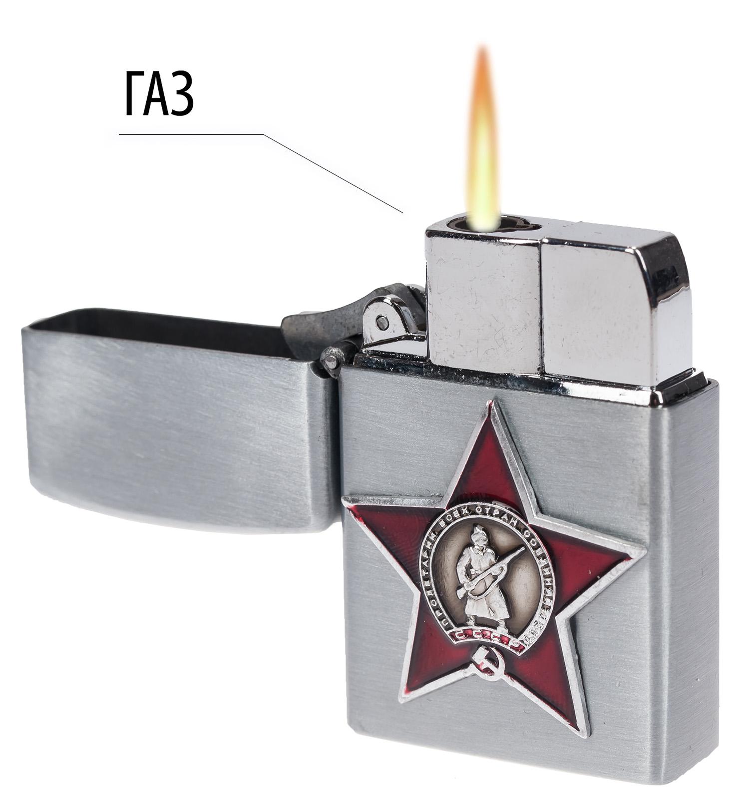 "Зажигалка с накладкой ""Красная звезда"" газовая Zippo"