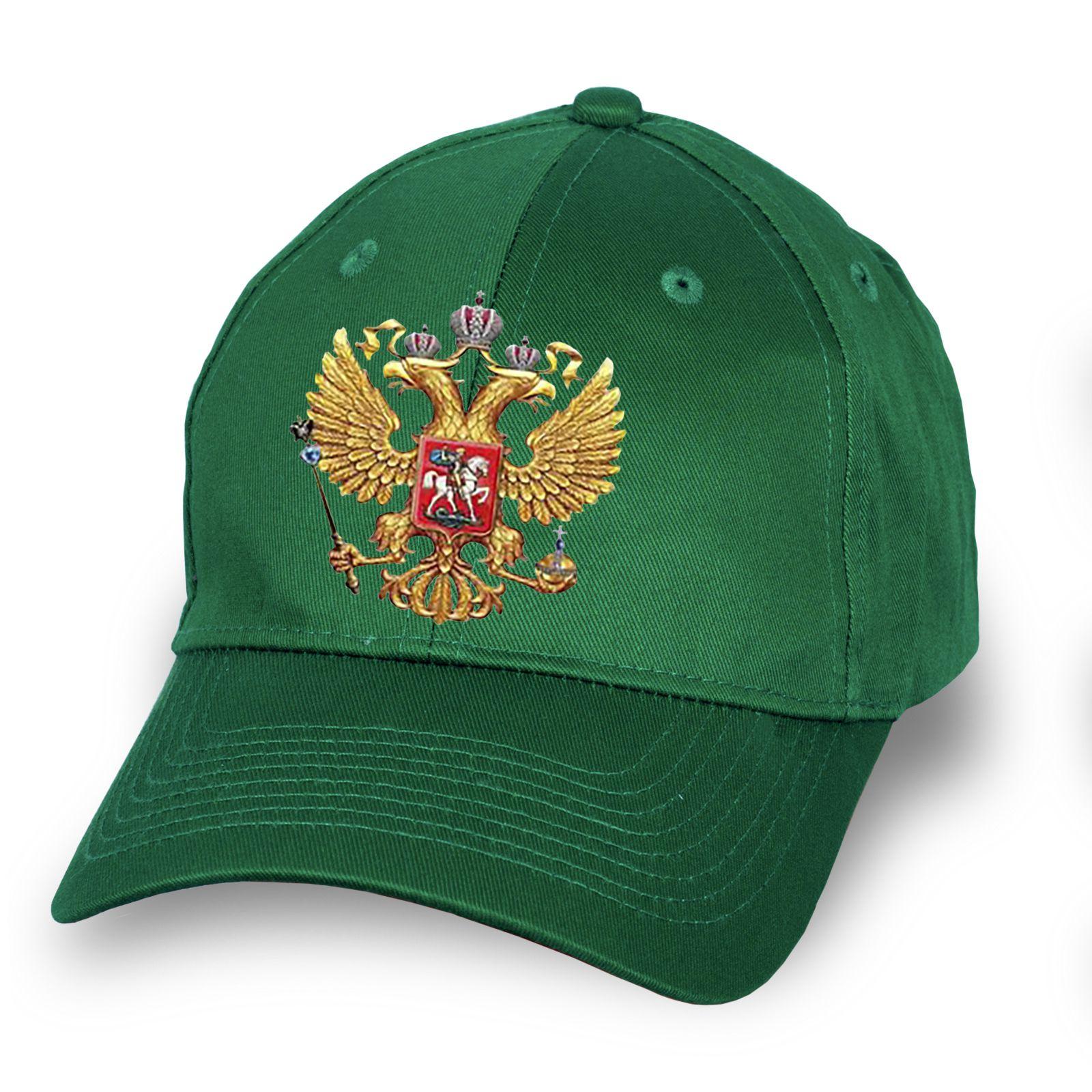 """Зелёная бейсболка """"Герб России"""" - купить по низкой цене онлайн"""