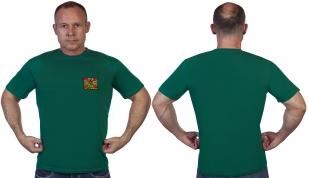 Зелёная футболка с нашивкой Погранвойск - в розницу и оптом