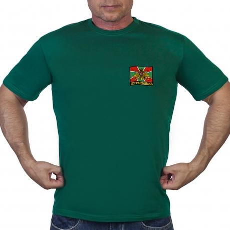 Зелёная футболка с нашивкой Погранвойск