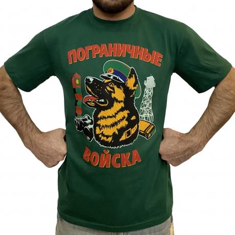 """Зеленая футболка с принтом """"Пограничная собака"""""""