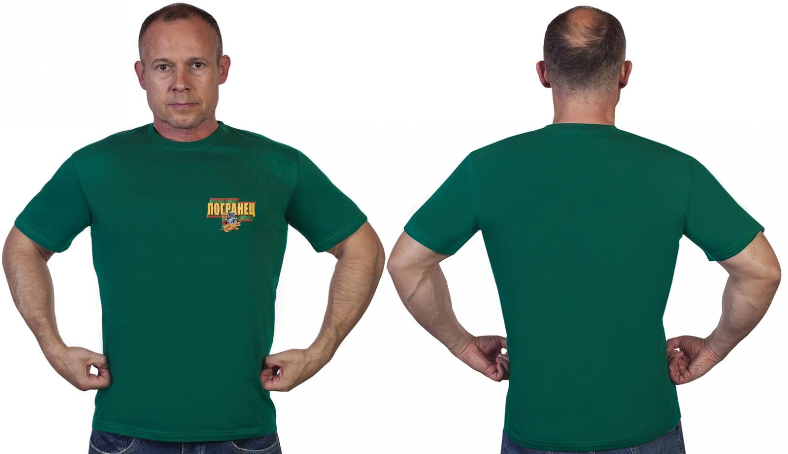 """Зелёная футболка с термотрансферной надписью """"Погранец"""" - в розницу и оптом"""