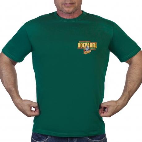 """Зелёная футболка с термотрансферной надписью """"Погранец"""""""