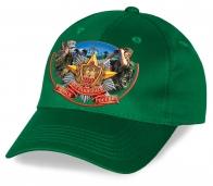 """Зеленая кепка """"100 лет Пограничных войск России"""". 100% хлопок, авторский дизайн. Уникальный головной убор, такой больше нигде не купишь! Заказывай для себя или в подарок!"""
