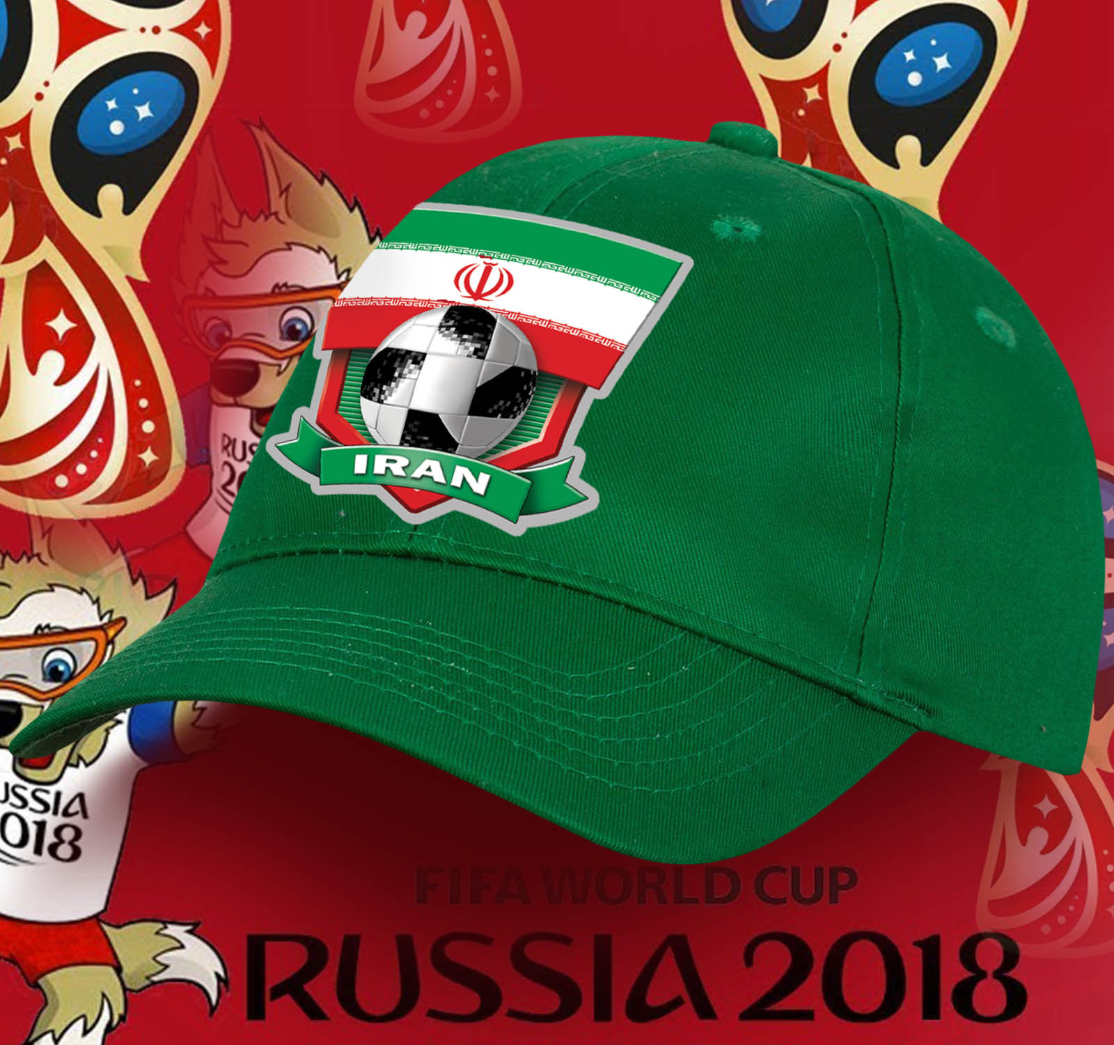 Зеленая шестиклинная бейсболка Iran