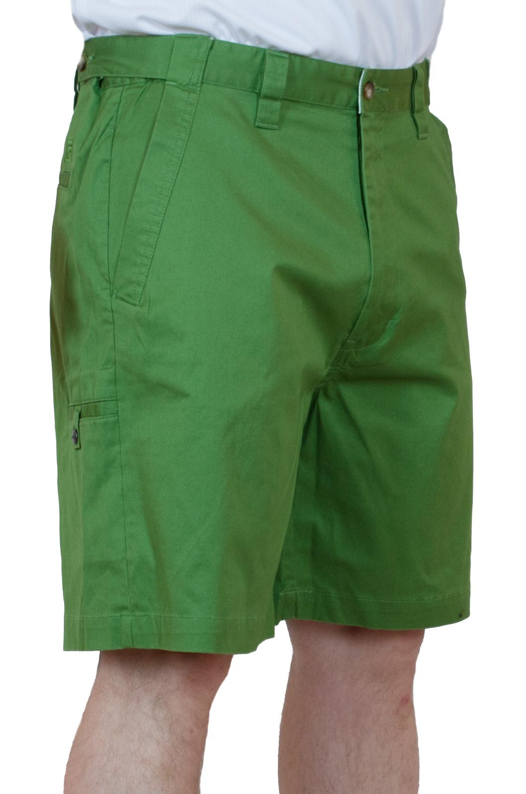 Хлопчатобумажные зеленые мужские шорты - вид сбоку