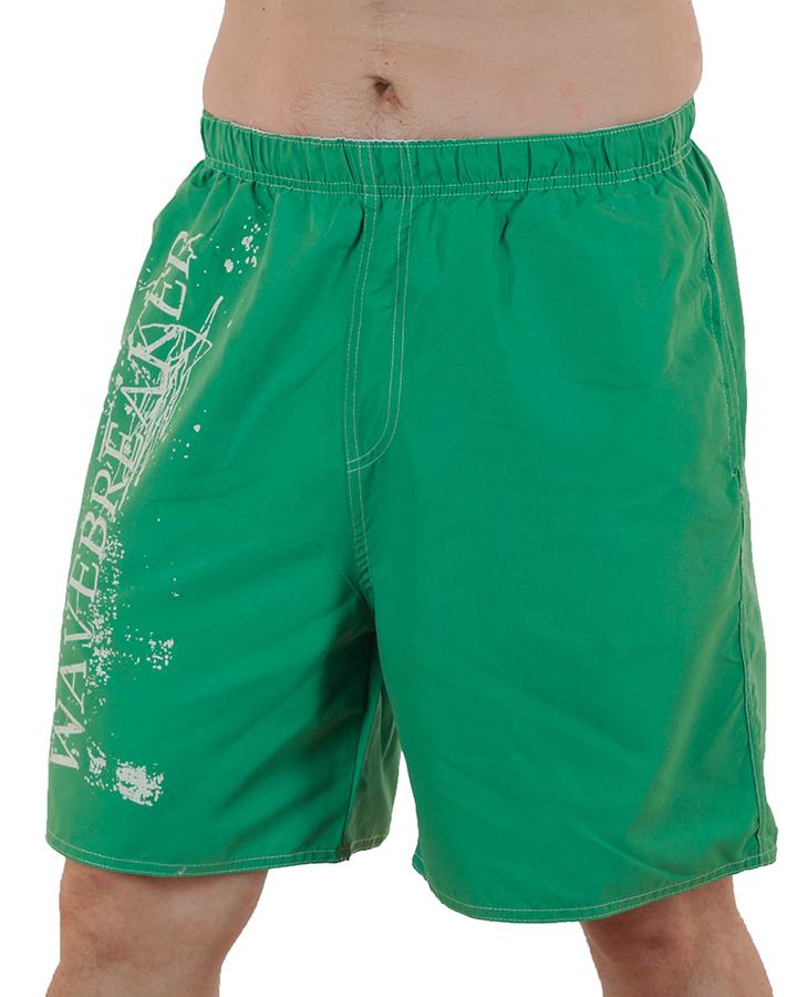 Купить зелёные мужские шорты Wave Breaker с принтом