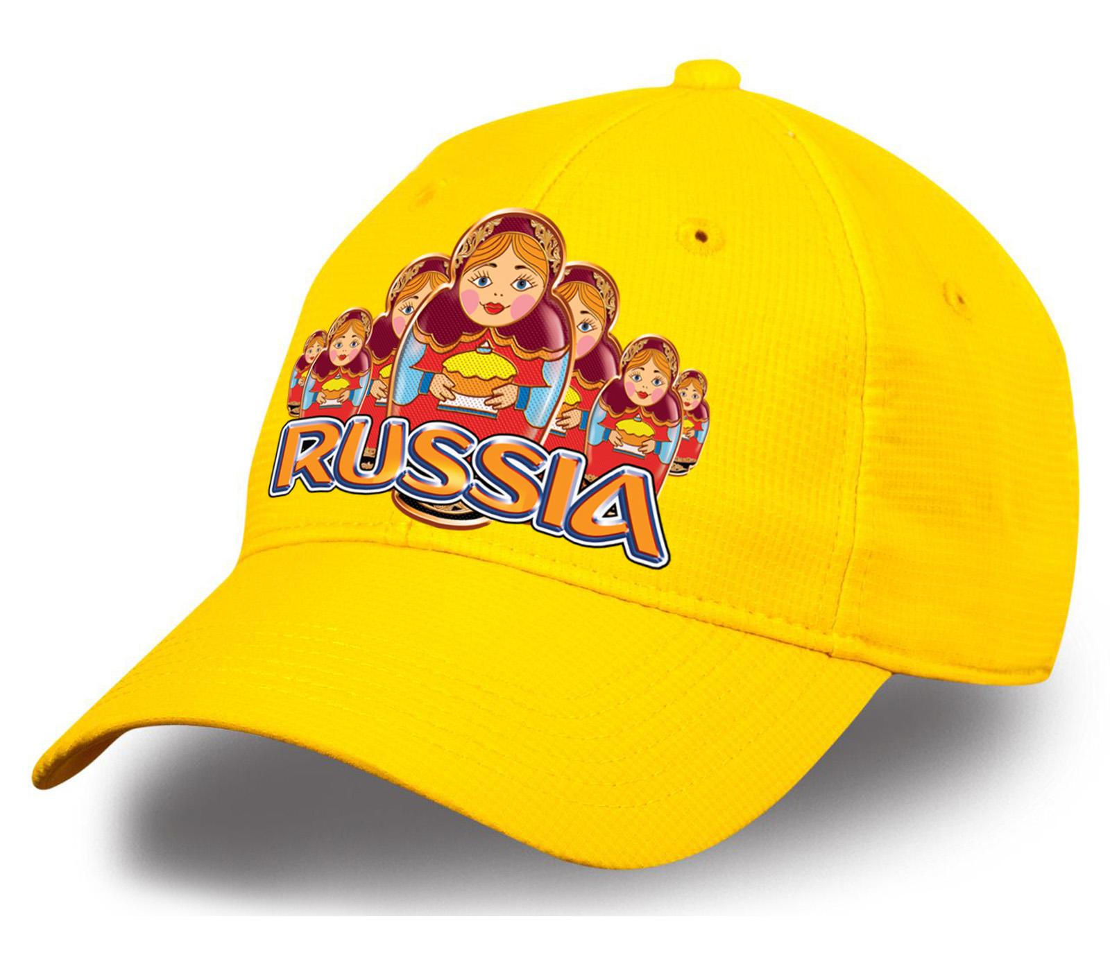 """Желтая бейсболка """"Russia матрешки"""" из 100% хлопка. Качественная и удобная модель, тренд сезона! Выбирай самое модное и лучшее!"""