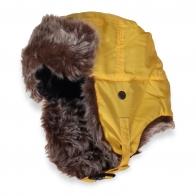 Желтая зимняя шапка с ушами