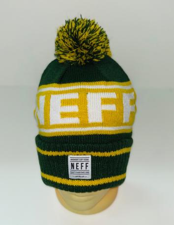 Желто-зеленая стильная шапка с помпоном