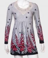 Жемчужно-серое платье с кружевом от бренда SELECT