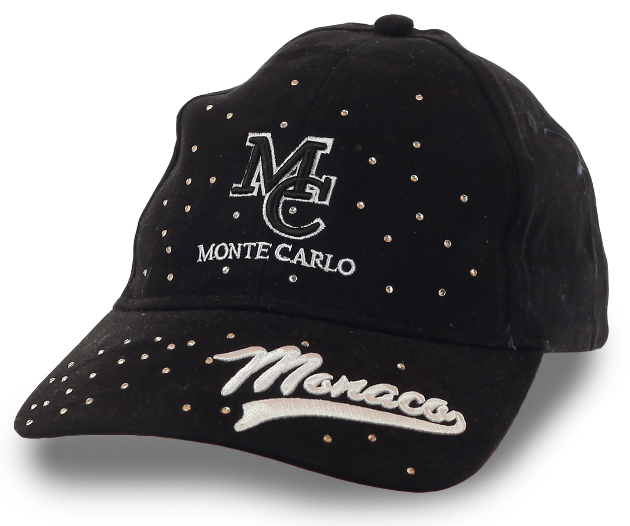 Женская бейсболка Monte Carlo – черный фон эффектно оттеняет блеск страз. Быть не похожей на других – просто, значит, будь УНИКАЛЬНОЙ!