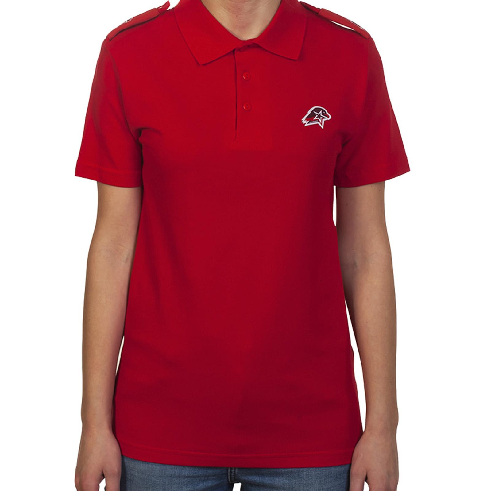 Красная футболка поло с коротким рукавом для юнармейцев