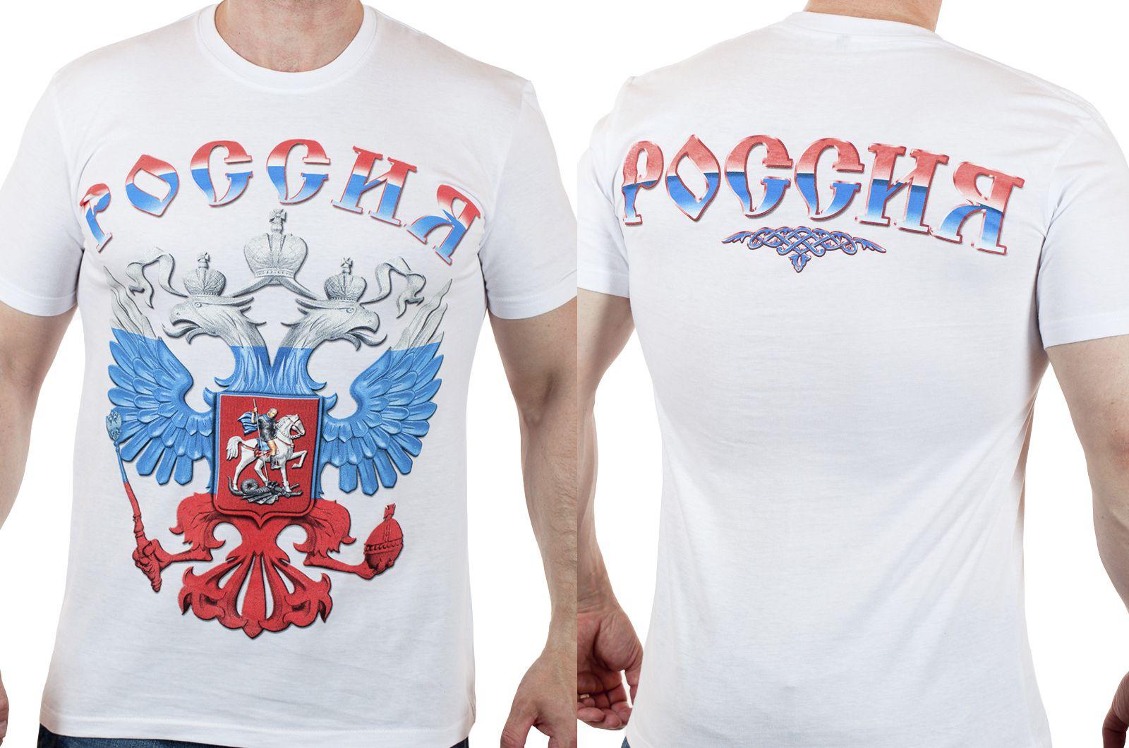"""Заказать белые футболки """"Россия"""""""