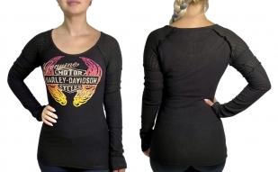 Женская кофта со стразами и принтом Harley-Davidson