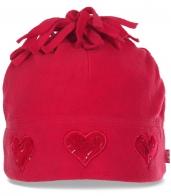 Женская нарядная флисовая шапка с флисовой подкладкой. Удивительно легкая, нежная согреет в любую непогоду